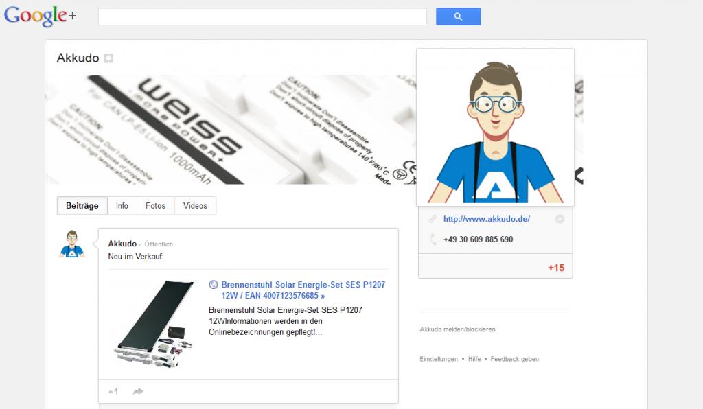 Akkudo auf Google+